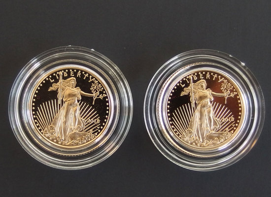2 x 2018-W $5 AMERICAN EAGLE GOLD PROOF COINS