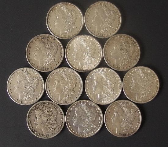 MORGAN SILVER DOLLAR COINS (12)