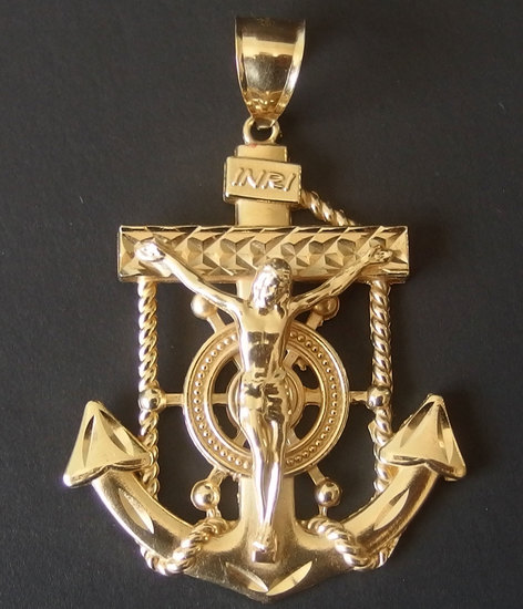 14KT GOLD MARINER'S ANCHOR CRUCIFIX PENDANT