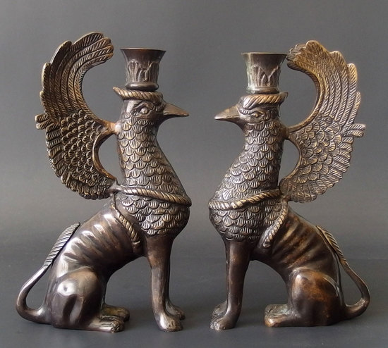 PAIR OF GRIFFIN BRONZE CANDLESTICKS