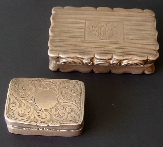 19TH CENTURY ENGLISH STERLING SNUFF BOXES (2)
