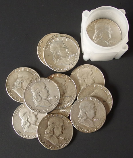 20 FRANKLIN SILVER HALF DOLLAR COINS
