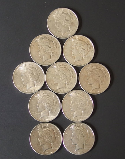10 SILVER PEACE DOLLAR COINS
