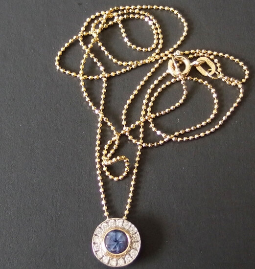 14KT GOLD & TANZANITE PENDANT / NECKLACE