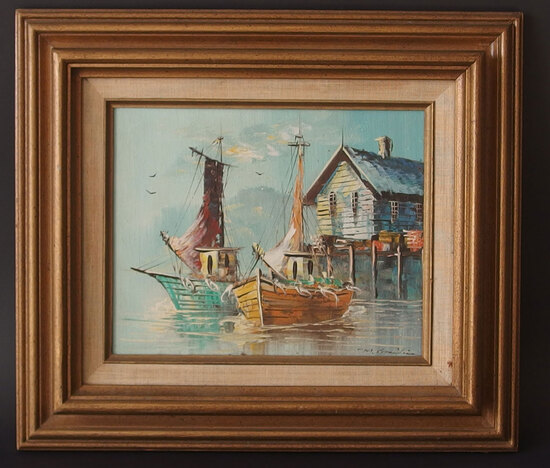 20TH CENTURY HARBOR SCENE OIL PAINTING