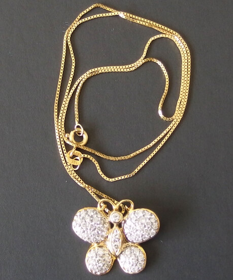 14KT GOLD & DIAMOND BUTTERFLY PENDANT NECKLACE