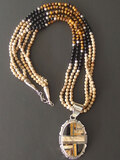 NAVAJO STERLING PENDANT BEADED NECKLACE