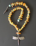 STERLING AMBER TURQUOISE DRAGONFLY NECKLACE