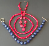 CORAL & LAPIS BEADED NECKLACES