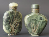 CHINESE SPINACH JADE SNUFF BOTTLES (2)