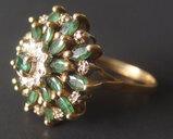 14KT GOLD EMERALD DIAMOND RING
