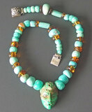 FAR EASTERN TURQUOISE AMBER STERLING NECKLACE