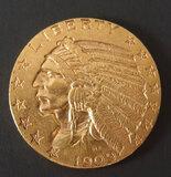 1909-D $5 INDIAN HEAD GOLD COIN