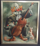 GARY HOFF 'CLOWN CONCERTO' OIL PAINTING