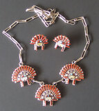 ED 'COYOTE' COOEYALE ZUNI NECKLACE/EARRING SET