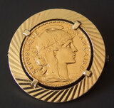 FRENCH 1910 20 FRANC 'ROOSTER' GOLD COIN MOUNTED