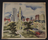 NORBERT SMITH CHICAGO WATER TOWER WATERCOLOR