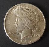 1921 HIGH RELIEF SILVER PEACE DOLLAR COIN