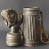 NAMED GERMAN WWII GAS MASK CANISTER
