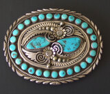 DAVID K. LISTER STERLING & TURQUOISE BUCKLE