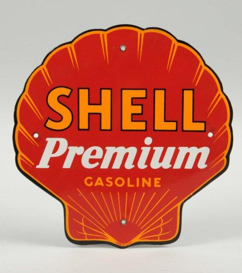 Shell Premium Gasoline Porcelain Shell Shaped Sign.