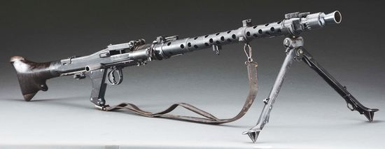 (N) Extremely Attractive and Near Matching German WW2 MG-34 Machine Gun With Rare Early Butt Assembl