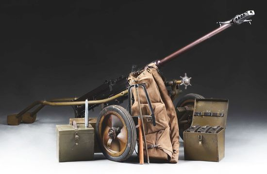 (N) High Condition Swiss Solothurn S-18-1000 Anti-Tank Gun on Rare Original Transit Cart (DESTRUCTIV