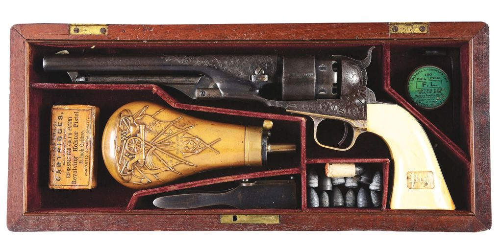 Lot: (A) Cased Factory Engraved Colt 1860 Army Percussion Revolver