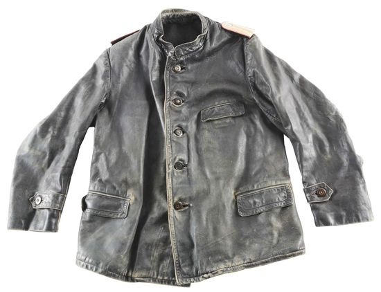 LOT OF 4: GERMAN WORLD WAR II LEATHER PANZER JACKET, SS OVERSEAS CAP, POLICE OFFICER TROUSERS, AND J