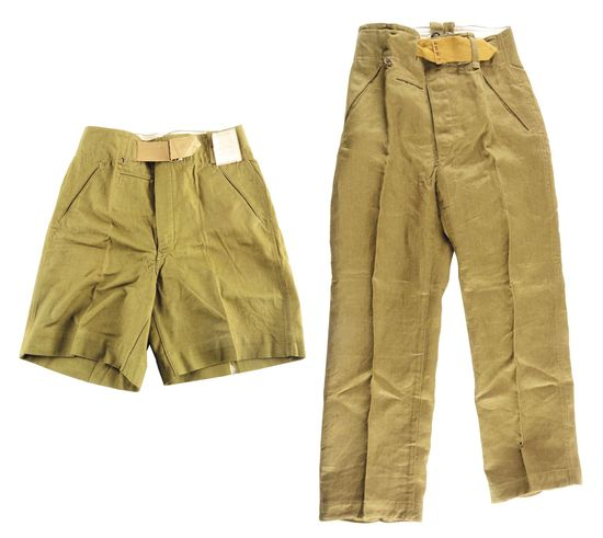 LOT OF 2: GERMAN WWII HEER TROPICAL SHORTS AND TROUSER.