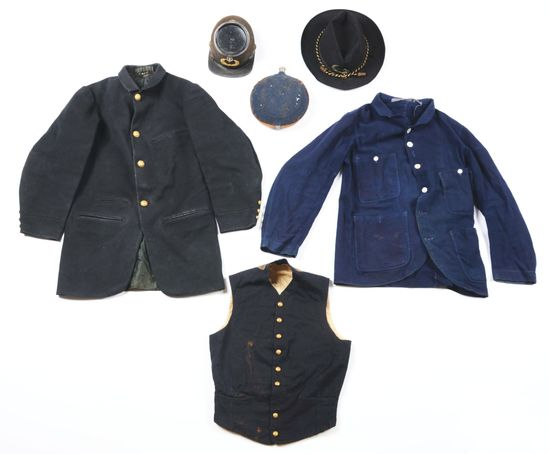 LOT OF 6: US 19TH CENTURY UNIFORM GROUP INCLUDING TWO HATS, CANTEEN, CAMP SHIRT, VEST, COAT.