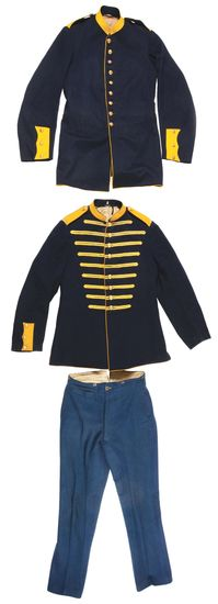 LOT OF 3: CAVALRY UNIFORM ITEMS, INCLUDING ONE MUSICIANS COAT, ONE COAT, AND A PAIR OF TROUSERS.