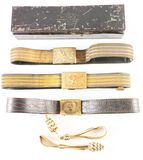 LOT OF 6: INDIAN WARS TO SPANISH-AMERICAN ERA FOUR SWORD BELTS AND TWO OFFICER SWORD KNOTS.