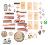 LOT OF 44: MISCELLANEOUS GERMAN THIRD REICH MEDALS, RIBBONS, PHOTOS, AND OTHER ACCOUTREMENTS.