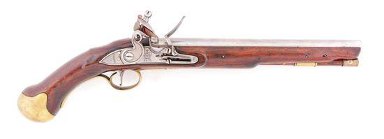 (A) A GOOD BRITISH LONG SEA SERVICE SINGLE SHOT FLINTLOCK PISTOL, CIRCA 1805.