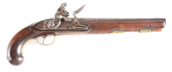(A) AN 1813 (?) CONTRACT UNITED STATES FLINTLOCK MARTIAL PISTOL WITH BARREL MARKED DERINGER PHILA PA
