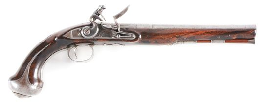 (A) A GOOD PARTLY SILVER MOUNTED LONG FLINTLOCK HOLSTER PISTOL BY KETLAND AND COMPANY, CIRCA 1780.