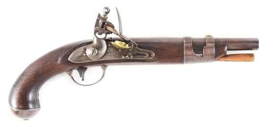 (A) A US MODEL 1816 SINGLE SHOT FLINTLOCK MARTIAL PISTOL BY SIMEON NORTH WITH UNUSUAL, POSSIBLY UNIQ