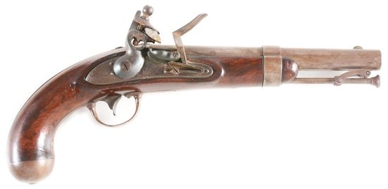 "(A) AN EXTREMELY UNUSUAL ""VARIANT EAGLE MARKED"" MODEL 1836 US FLINTLOCK MARTIAL PISTOL."