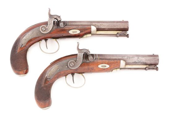 (A) LOT OF TWO: A FINE PAIR OF TRYON PHILADELPHIA BELT PISTOLS MADE FOR L.FISHER, LYNCHBURG VA CIRCA