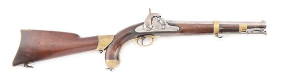 "(A) A SPRINGFIELD MODEL 1855 SINGLE SHOT MARTIAL PISTOL WITH SHOULDER STOCK AND 12"" RIFLED BARREL, D"