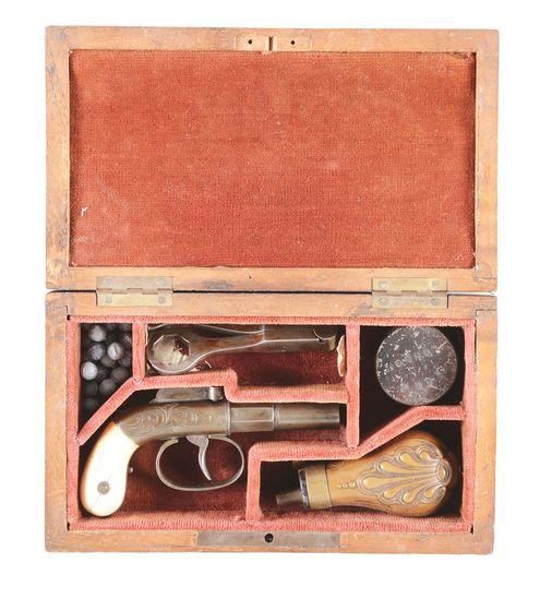 (A) CASED ALLEN & WHEELOCK SINGLE SHOT PERCUSSION BOOT PISTOL.