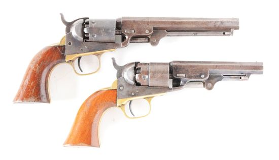 (A) LOT OF TWO: A FINE PAIR OF ORIGINAL COLT POCKET MODEL PERCUSSION REVOLVERS.