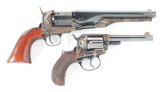 (A) LOT OF TWO: COLT REVOLVERS - 1861 NAVY BLACK POWDER SERIES & COLT LIGHTNING SHERIFF'S MODEL.