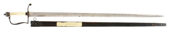 SILVER HILTED PILLOW POMMEL INFANTRY OFFICER'S SWORD OF MILO BURR, WITH SCABBARD.