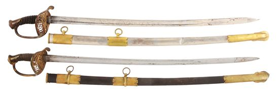 LOT OF 2: MODEL 1850 STAFF AND FIELD OFFICER'S SABERS, ONE BY HORSTMANN.