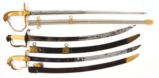 LOT OF THREE EAGLE POMMEL SWORDS WITH SCABBARDS.