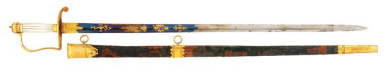 FINE GILT BRASS INFANTRY OFFICER'S SPADROON MARKED WOOLEY DEAKON WITH SCABBARD.