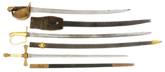 LOT OF 3: 1860 NAVAL CUTLASS AND MILITIA SWORDS.