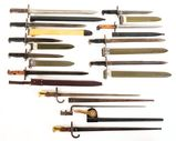 LOT OF 12: ASSORTED US AND FOREIGN BAYONETS.